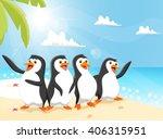 Illustration Of Funny Penguin...