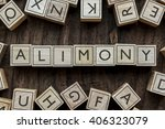 Small photo of the word of ALIMONY on building blocks concept
