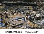 Polluted River Bed Full Of Junk ...
