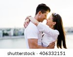 young romantic couple hugging... | Shutterstock . vector #406332151
