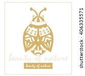 golden beetle. hand draw... | Shutterstock .eps vector #406335571