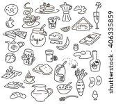 morning breakfast doodle vector ... | Shutterstock .eps vector #406335859