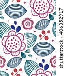 vector floral pattern with... | Shutterstock .eps vector #406352917