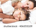 sleeping kid girl and her... | Shutterstock . vector #406353109