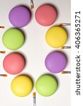 cosmetic bright macaroons lying ... | Shutterstock . vector #406365271