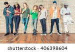 young people looking down at... | Shutterstock . vector #406398604