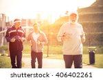 group of seniors making jogging ... | Shutterstock . vector #406402261