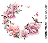 beautiful watercolor card with... | Shutterstock . vector #406420909