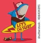 Surfer Shark Cartoon Character...
