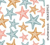 seamless vector starfish... | Shutterstock .eps vector #406435915