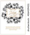 invitation with floral... | Shutterstock . vector #406439431
