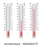 vector set of flat thermometers ... | Shutterstock .eps vector #406440175