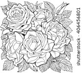 coloring page with roses | Shutterstock .eps vector #406456801