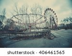 abandoned carousel and... | Shutterstock . vector #406461565
