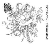 uncolored flowers and buterflay ... | Shutterstock .eps vector #406462651