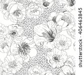 black and white seamless floral ... | Shutterstock .eps vector #406463845