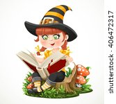 cute little girl witch sitting...