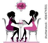 illustration of two girls... | Shutterstock .eps vector #406474501
