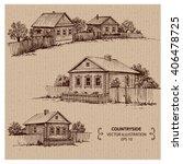 wooden houses in the village.... | Shutterstock .eps vector #406478725