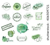 organic food stickers and... | Shutterstock .eps vector #406509721