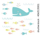 cute whale and fish clipart | Shutterstock .eps vector #406515001