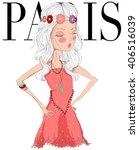 beautiful cute girl in paris...   Shutterstock .eps vector #406516039