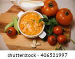 hot tomato soup. on board with... | Shutterstock . vector #406521997