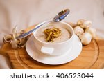 mushroom cream soup. on board... | Shutterstock . vector #406523044