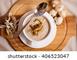 mushroom cream soup. on board... | Shutterstock . vector #406523047