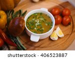 chicken soup with patty and... | Shutterstock . vector #406523887