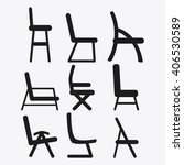 set of black and white chairs ... | Shutterstock .eps vector #406530589