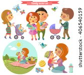 vector set in flat style with... | Shutterstock .eps vector #406540159