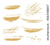 vector gold paint smears set.... | Shutterstock .eps vector #406548847