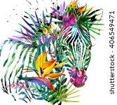 zebra. exotic tropical plant... | Shutterstock . vector #406549471
