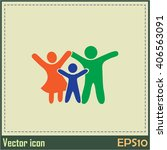happy family icon in simple... | Shutterstock .eps vector #406563091