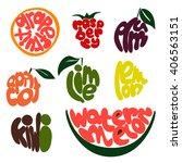 fresh fruit lettering vector...   Shutterstock .eps vector #406563151
