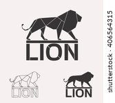 Lion Logo Set. Lion Geometric...