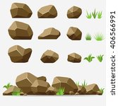 Rock Stone With Grass. Brown...