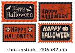 set of four happy halloween... | Shutterstock .eps vector #406582555