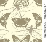 butterflies and dragonflies.... | Shutterstock .eps vector #406586017