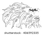 graphic dolphins collection... | Shutterstock .eps vector #406592335