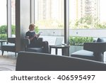 female student is checking e...   Shutterstock . vector #406595497