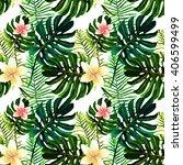 watercolor  tropical green... | Shutterstock . vector #406599499