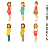 pregnant fashion set. happy mom ... | Shutterstock .eps vector #406602361