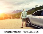back view of a man is thinking... | Shutterstock . vector #406603315