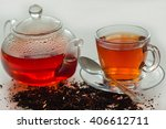 kettle  cup and tea. | Shutterstock . vector #406612711