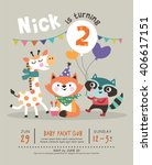 2nd birthday party invitation... | Shutterstock .eps vector #406617151