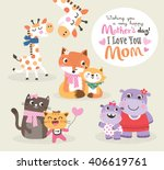 Stock vector mother s day greeting card vector illustration cute little giraffe fox cat and hippo with their 406619761