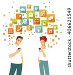 smart phone using concept with... | Shutterstock .eps vector #406621549