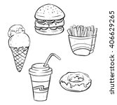 set of lunch fast food or junk... | Shutterstock .eps vector #406629265